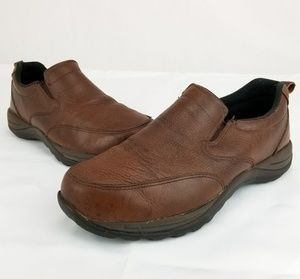 LL BEAN Brown Leather Slip On Casual Step in Loafe